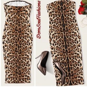 Dresses & Skirts - Leopard Bodycon Halter Tube Dress - Cheetah Print